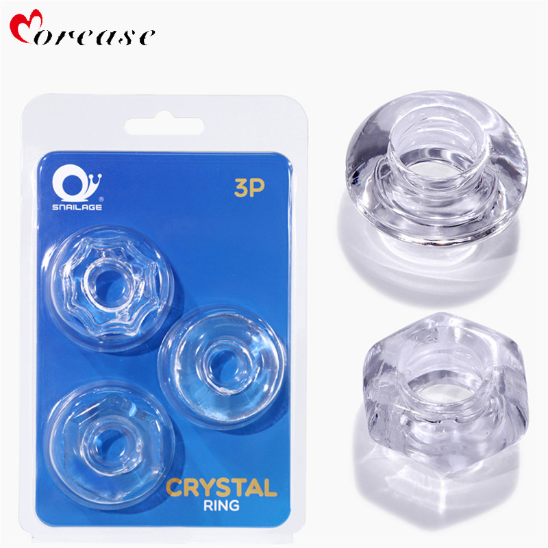 3pcs/lot Penis Rings Cock Sleeves Chastity Device Delaying Ejaculation Silicone Climax Cockring For Male Men Couple Sex Toys