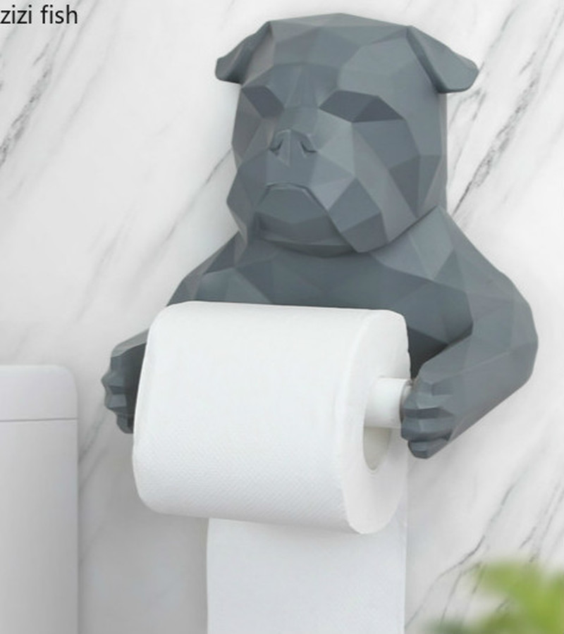 Nordic Resin Paper Towel Holder Bathroom Bathroom Wall-mounted Paper Towel Holder Kitchen Geometric Bulldog Dog Tissue Box