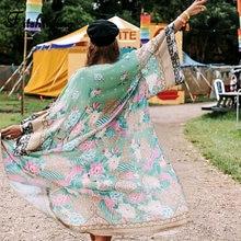 Fitshinling stampa Chiffon Beach Cover Up Kimono estivo Bikini copertura esterna costumi da bagno Sexy Cardigan lungo Bohemian Holiday Cover-Up