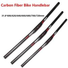 Bike Flat Handlebar For MTB Ultralight Carbon Fibre Bar For Road Mountain Bicycle 31.8*600/620/640/660/680/700mm Bike Accessory