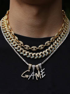 UWIN Pendant Necklace Jewelry-Chain Initial-Letters Custom-Name Cubic-Zirconia Hiphop
