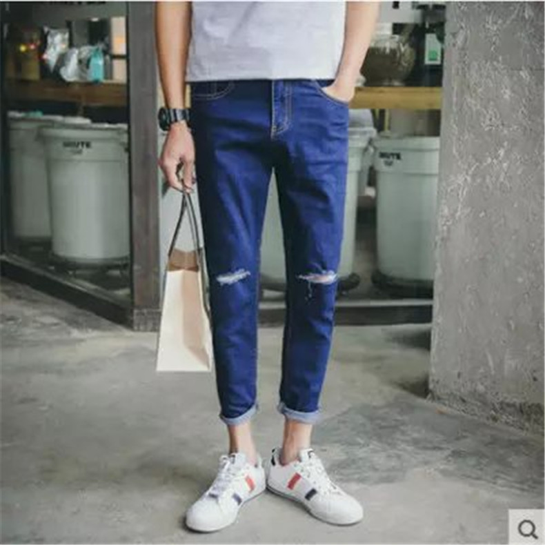 Summer Capri Jeans Men Thin With Holes Trend Capri Pants England Skinny Pants Slim Fit