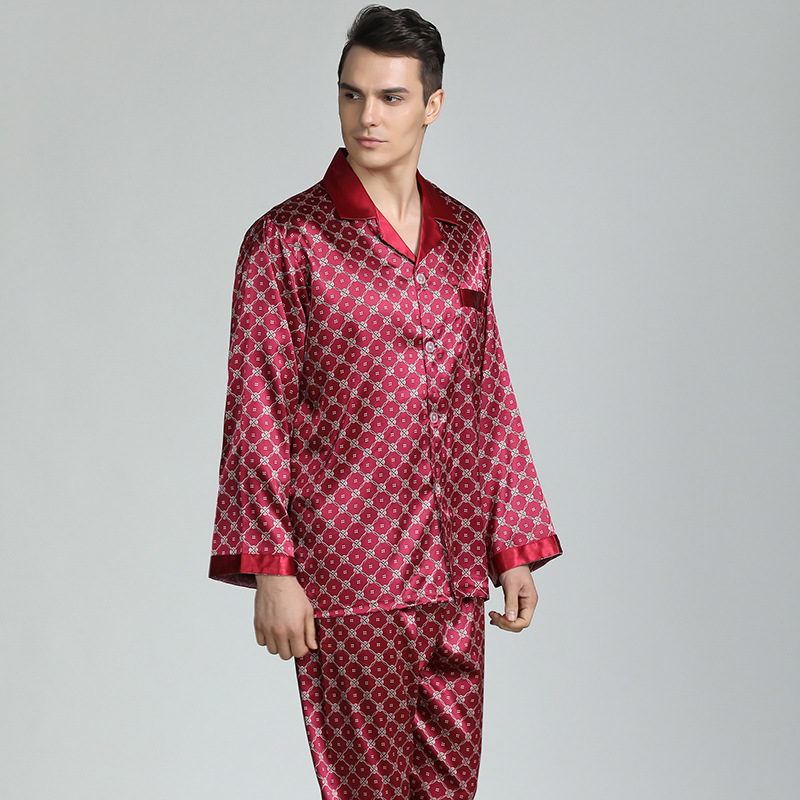Mens Pajama Set Silk Pajamas For Men Sleepwear Sexy V-collar Cozy Soft Long Sleeve Nightgown Tops + Trousers Two Piece Set