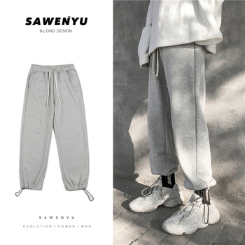 Sweatpants Men's Fashion Solid Color Cotton Casual Joggers Pants Men Streetwear Wild Hip-hop Loose Trousers Mens Track Pants autumn new joggers pants men fashion contrast color casual sweatpants men streetwear loose hip hop trousers man track pants