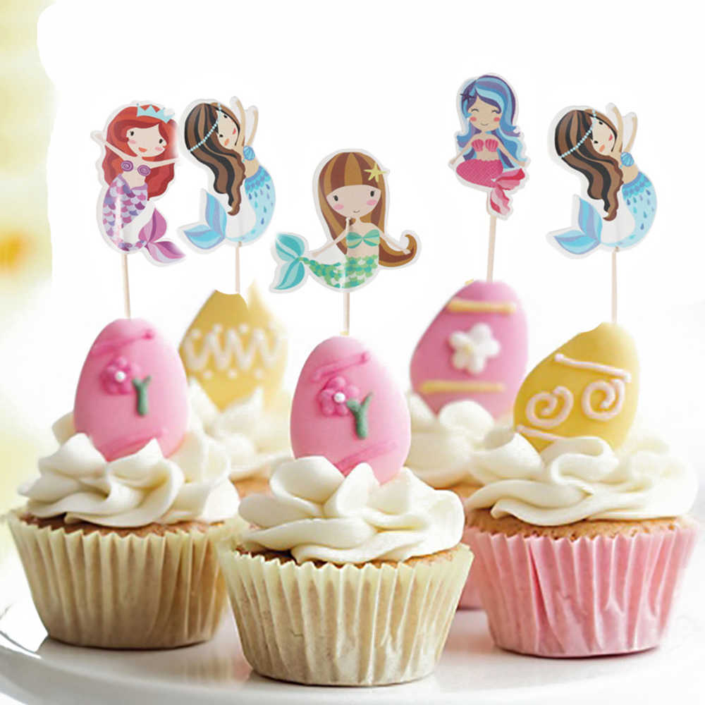 Stupendous 24Pcs Cartoon Cake Toppers Firefighter Mermaid Zoo Cupcake Toppers Funny Birthday Cards Online Amentibdeldamsfinfo