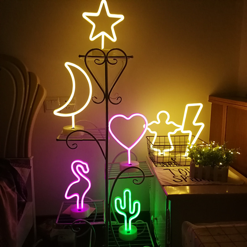 Battery USB Power LED Neon Lamp Flamingo Cactus Fairy Garland Night Lights Bedroom Wedding Christmas Party Holiday Decoration