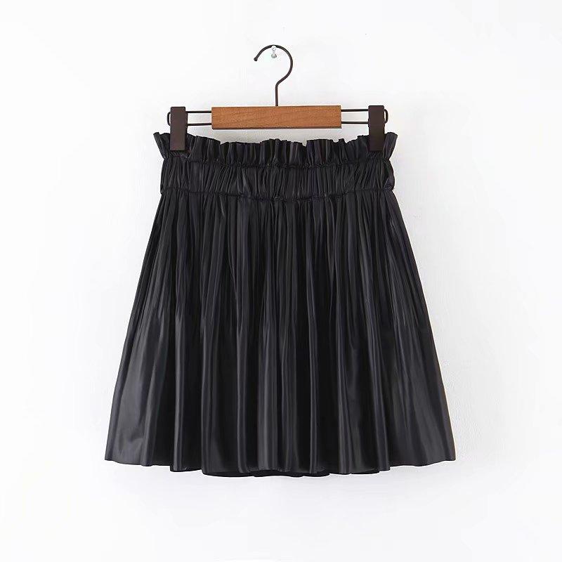 New Women Sweet Agaric Lace Elastic Waist PU Leather Pleated Mini Skirt Faldas Mujer Ladies Vestidos Casual Slim Skirts QUN454