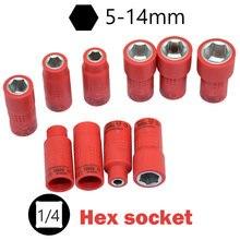 Isoliert 1000V Hohe Spannung 1/4 VDE Hex Buchse 5-14mm Hexagon Hand Werkzeuge Elektrische Ferramenta