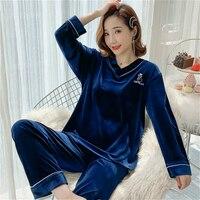 New Women V collar sexy Winter 2 Pieces Pajamas Set Female Sleepwear Gold Velvet Home Clothes Plus Size M 5XL
