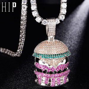 Hip Hop Bling Hamburger Iced Out Bling Cubic Zircon Necklace & Pendant For Men Jewelry Charm Tennis Chain