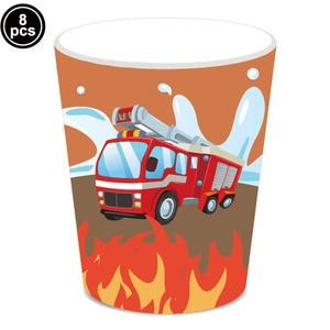 Одноразовые стаканчики для празднования дня рождения пожарного, соломенные чашки для детского душа, тема пожарного 3th 4th 5th, принадлежности ...