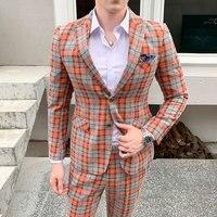 Men Clothes New Suit Men's Single breasted Two piece Set Business Lattice Lapel Casual Professional Men Suit Three color