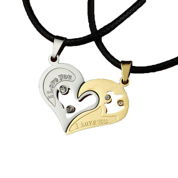 2 PCS Women Men Couple Splice Key Locket Necklace Double Color Broken Heart Gifts Personality Lovers Jewelry Pendant Necklace image