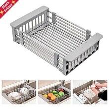 Drain-Rack Basket Sink Cutlery Telescopic Kitchen-Sink-Drain Retractable Stainless-Steel