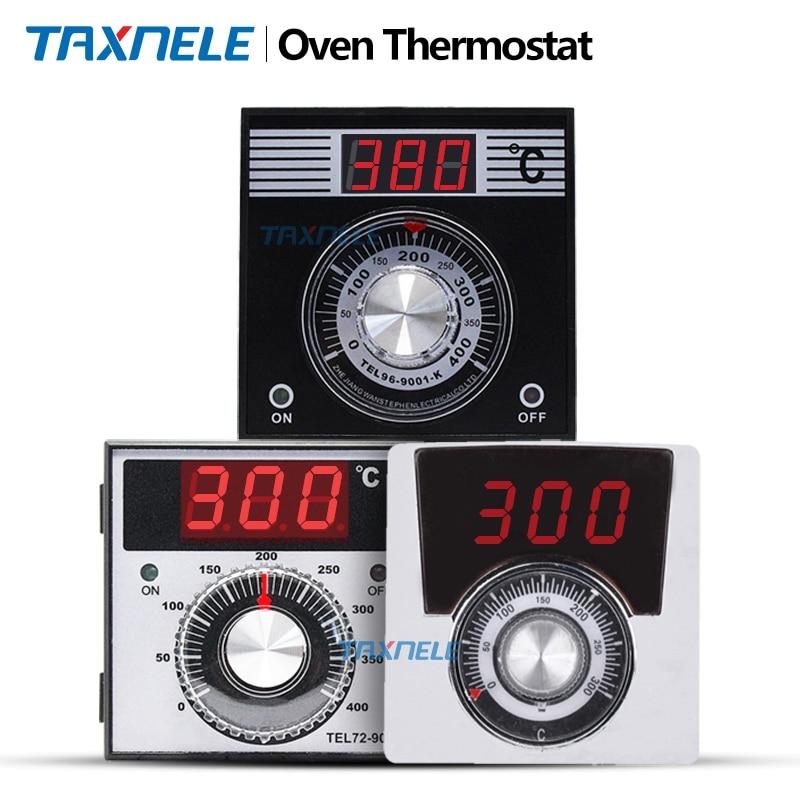 Цифровой регулятор температуры для духовки TEL72 TEL96, термостат с ручкой, 400 градусов, 96x96 мм, 72x72 мм, релейный выход k, вход 220 В, 380 В