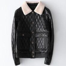 Spring Black Printed New Leather Formal Coat Autumn Women Wool Collar Short Jacket Cotton Lining