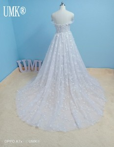 Image 5 - UMK 2020 Vestido De Noiva 3D Lace Wedding Dress Sexy Off the Shoulder See Through Tulle A Line Wedding Dresses