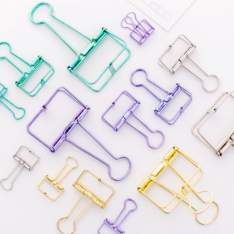 Candy Color Hollow Metal Binder Tail Clips Cute Photos Tickets Notes Memo Paper Clip Stationery Gift