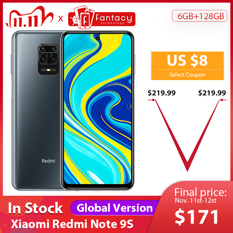 "In Stock Global Version Xiaomi Redmi Note 9S 6GB 128GB Snapdragon 720G 48MP AI Quad Camera Note 9 S 5020mAh 6.67"" FHD+ Screen|Cellphones| - AliExpress"