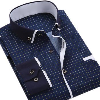 Business Men Dot Plaid Print Turndown Collar Long Sleeve Button Shirt Blouse Top Business Men Button Shirt Blouse TopButton Shir turndown collar tartan print shirt