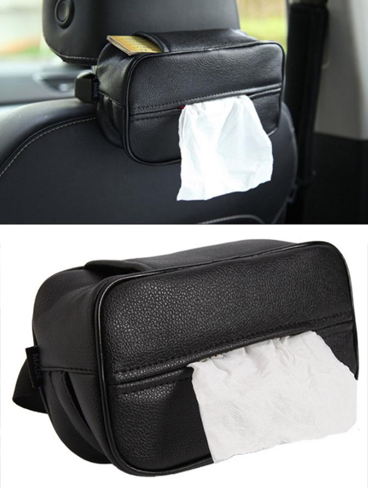Car Tissue Box Universal Holder Home Dual-use Black PU Leather Backseat Organizer Storage Styling