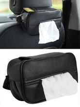Car Tissue Box Universal Car Tissue Holder Car Home Dual-use Black PU Leather Backseat Tissue Box Organizer Storage Car Styling biety am 13 multifunctional alligator pu leather car sunvisor sunshade tissue box case cd holder