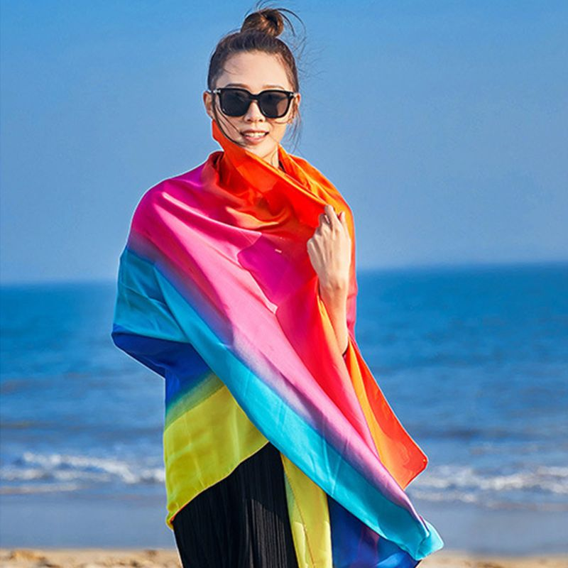 190x100cm Imitation Silk Large Shawl Rainbow Contrast Colored Stripes Women Beach Neck Scarf Hair Wrap Sunscreen Cover Up Sarong
