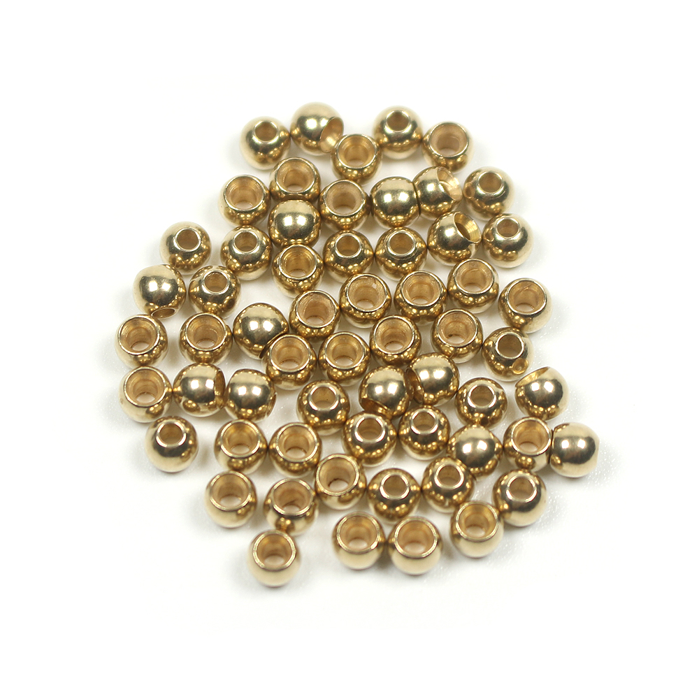 """50 pieces 50 1//8/"""" 3.2mm Gold colored Beads for Fly Tying Brass Bead Head"""