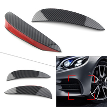 ABS Car Front Bumper Spoiler Side Fog Light Canard Vent Flaps For Mercedes Benz E-Class W213 E43 E53 E63 AMG Sport Carbon Fiber