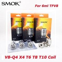 Электронных сигарет SMOK TFV8 Головка Катушки V8-T8 V8-T6 V8-Q4 V8-X4 V8-T10 для 6 мл TFV8 облачный зверь танк электронная сигарета распылитель ядро