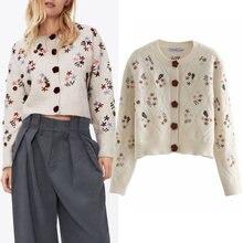 Za – pull imprimé brodé au Crochet pour femme, col rond, Slim, simple boutonnage, Cardigan, nouvelle collection 2020