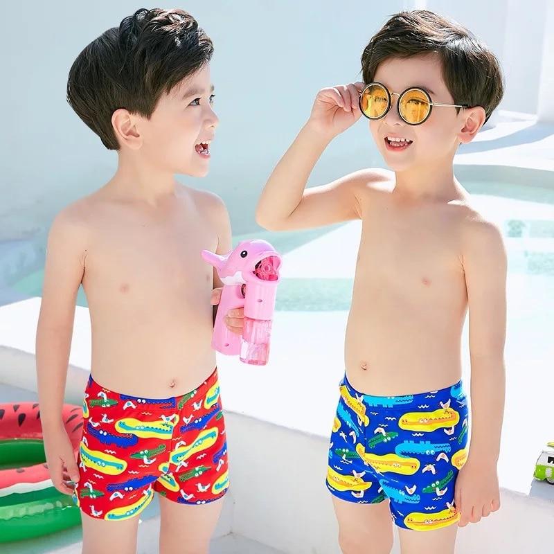 New Style Small Crocodile Cartoon Children Children Swimming Trunks Swimwear Boy Baby CHILDREN'S Swimming Suit Swimming Cap Set