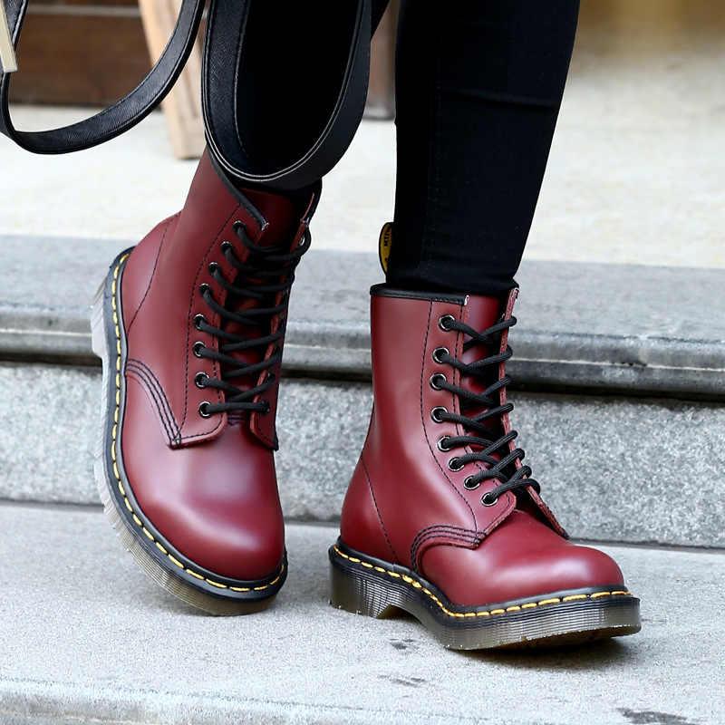 Kadın botları ana çizmeler yüksek kaliteli bölünmüş deri ayakkabı motosiklet sonbahar kış kadın çizmeler boyutu 34-46