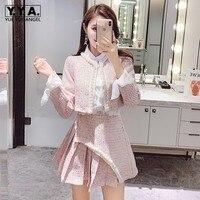 Sweet Pink Tweed 3 Piece Sets Women Streetwear 2020 Ruffle Long Sleeve White Shirt Beading Tweed Short Pleated Skirt Suit S L