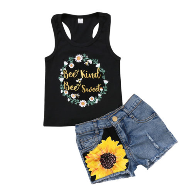 Summer Fashion 1-6Y Toddler Kids Girl Child Black Sleeveless Tee Top T Shirt Denim Floral Pants Clothes Outfit Children's Sets