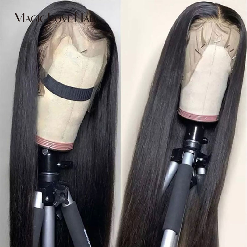 Magic Love  Transparent Lace Straight Wig Lace Front Human Hair Wigs With  Straight Hair Wigs Brazilian Human Hair