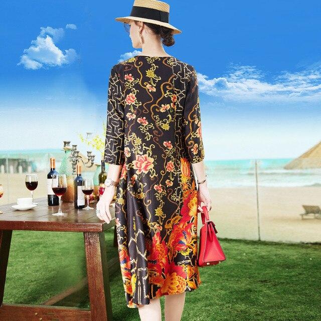 Female Silk Loose 2021 Summer Vintage Floral Print O-neck Casual Elegant Women Dress Plus Size M-4XL Ladies Clothing Vestidos 2