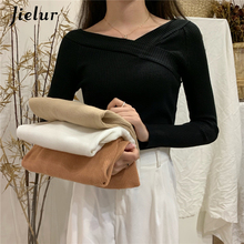 Jielur Slash Neck Knitted Sweaters Women Pullover Pure Color Long Sleeve Femme Elastic Basic Sweater Autumn Winter Slim цена и фото