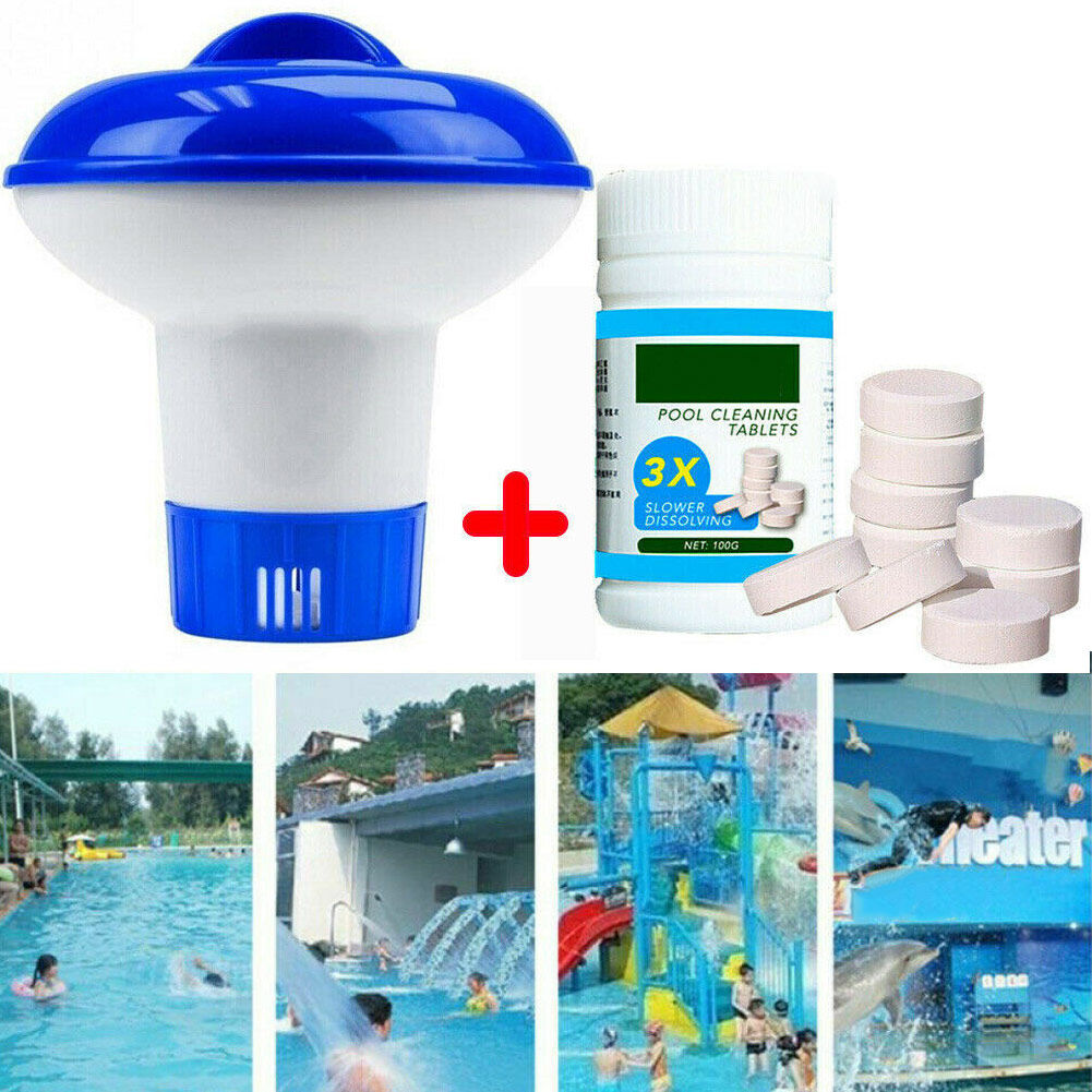 Pool Cleaning Floating With 100pcs Purifier Tablets Swimming Pool Chlorine Dispenser Kit SEP99