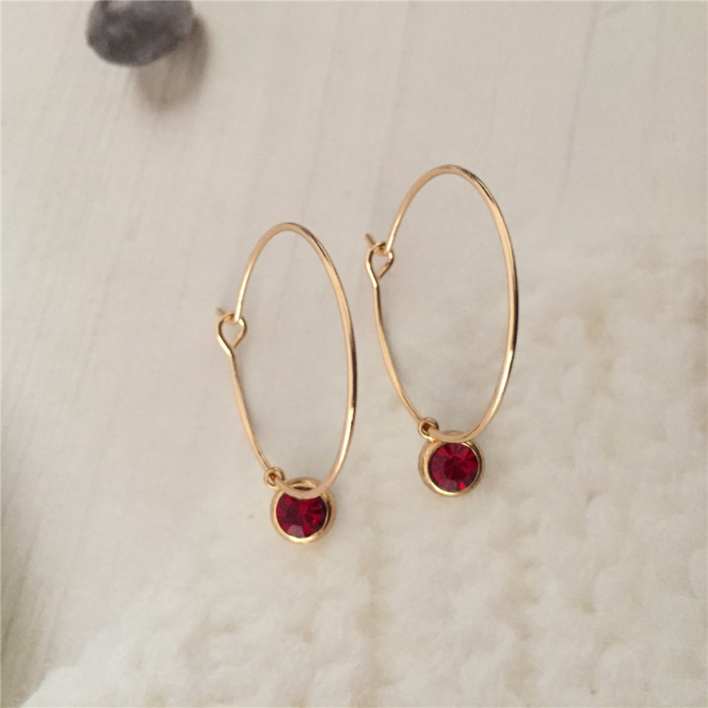 Korean Style Lovely Women Hoop Earrings Gold Color Hoop With Small Cute Stone Charm Earrings For Girl And Mom Best Gift