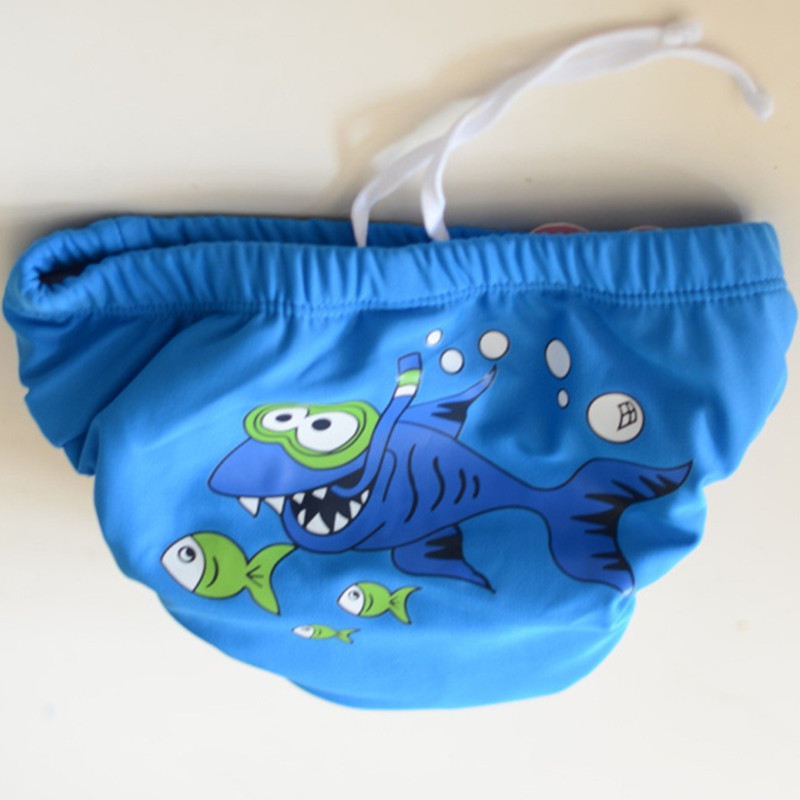 Single Blue Plain Color Fish Children Diaper Pants Cute Baby Infants Small Children Swimming Diaper Pants Velcro