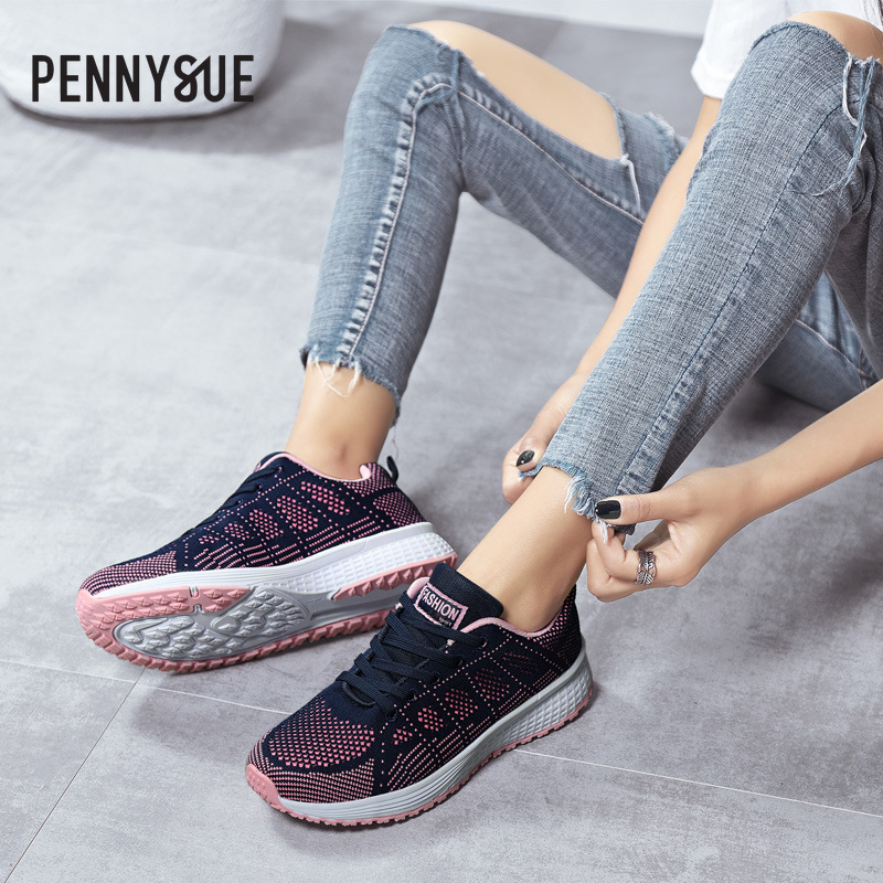 Pennysue 2020 Summer Light Weight Sport Shoes Female Students Running Shoes Breathable Fly Knitting Lace-up Shoes Women Sneakers
