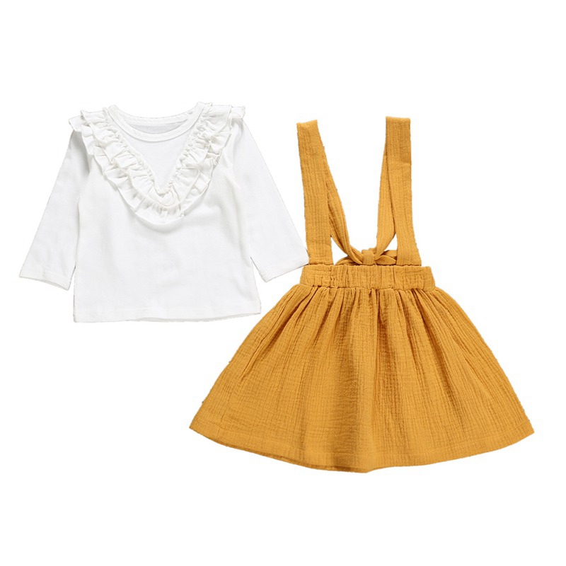 2019 autumn Kids Girls Clothing Sets Long Sleeve T-Shirt Top+ Yellow Skirt Children Baby Clothes Suit Costume 1-6Y#C