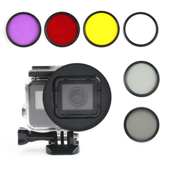 цена на 58mm UV/CPL/Red/Yellow/Purple/Orange Color Filter +Lens Cap+ Adapter Ring for gopro Hero 5 6 7 Waterproof Housing Case