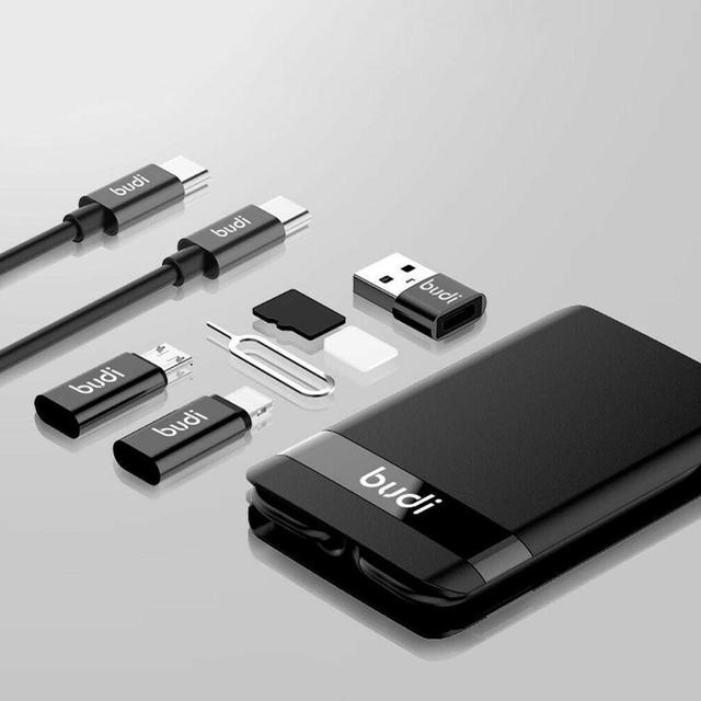 BUDI Multi-funzione Smart Card Adapter Cavo Di Dati di Archiviazione Box USB Caricabatterie Universale Senza Fili per il iPhone Xiaomi Huawei 3