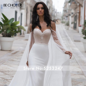 Image 4 - BECHOYER חינני חרוזים סאטן חתונת שמלה מתוקה ארוך שרוול בת ים 2 ב 1 משפט רכבת הכלה שמלת Vestido דה Noiva n170