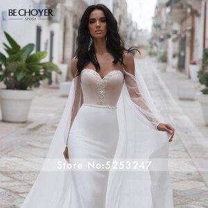 Image 4 - BECHOYER zarif boncuklu saten düğün elbisesi sevgiliye uzun kollu Mermaid 2 In 1 mahkemesi tren gelin kıyafeti Vestido de Noiva N170