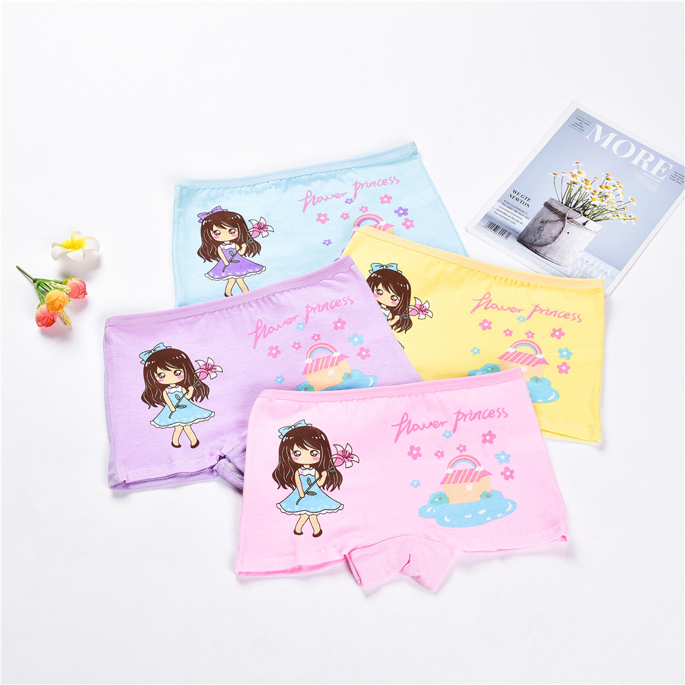 4 Pieces/Lot 2-12Y Children Underwear High Quality Cotton Girls Panties Cute Cat Pattern Kids Boxer Briefs Child Soft girl Pants(China)