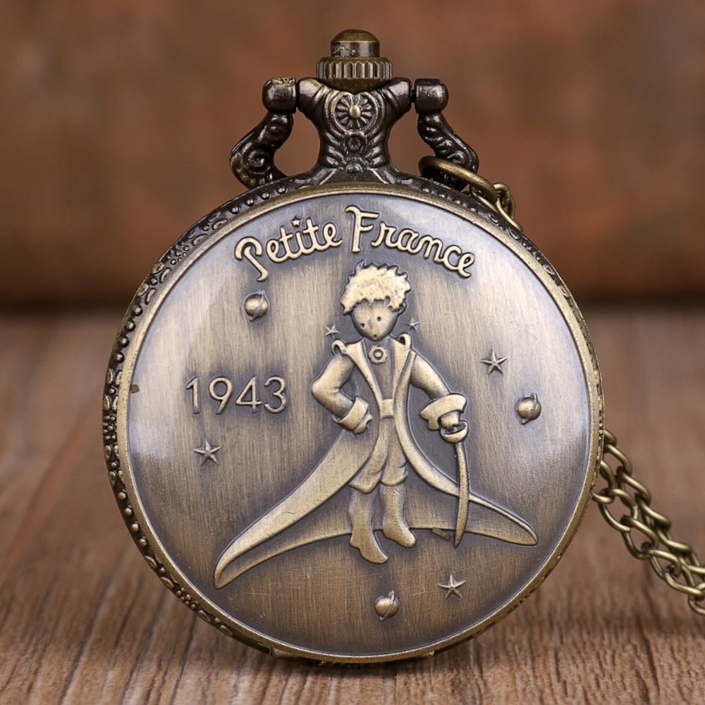 Retro Bronze Pocket Watches The Little Prince Movie Planet Quartz Pocket Watches Necklace Pendant Popular Gifts For Boys Girls