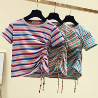 Short Sleeve T shirt Women's 2019 Summer New Style Hyuna Slim Fit Rainbow Stripes Non mainstream Scheming Drawstring Short Tops